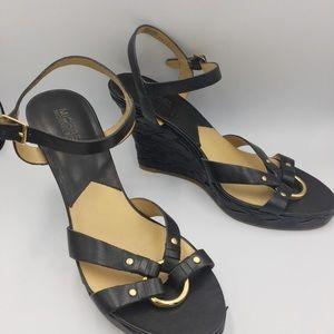 MICHAEL Michael Kors black leather wedge heels